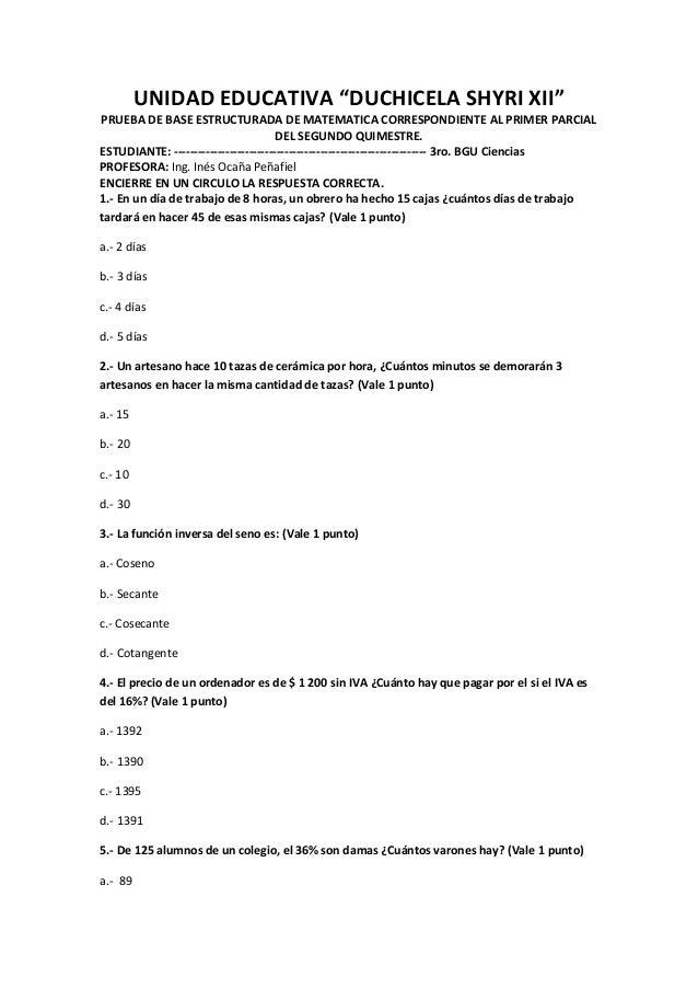 """UNIDAD EDUCATIVA """"DUCHICELA SHYRI XII"""" PRUEBA DE BASE ESTRUCTURADA DE MATEMATICA CORRESPONDIENTE AL PRIMER PARCIAL DEL SEG..."""