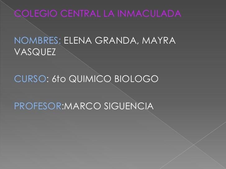 COLEGIO CENTRAL LA INMACULADANOMBRES: ELENA GRANDA, MAYRAVASQUEZCURSO: 6to QUIMICO BIOLOGOPROFESOR:MARCO SIGUENCIA