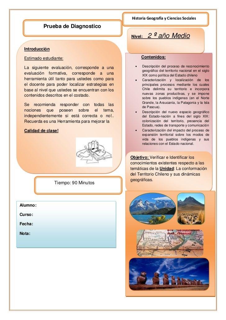 Historia Geografía y Ciencias Sociales            Prueba de Diagnostico        S                                          ...