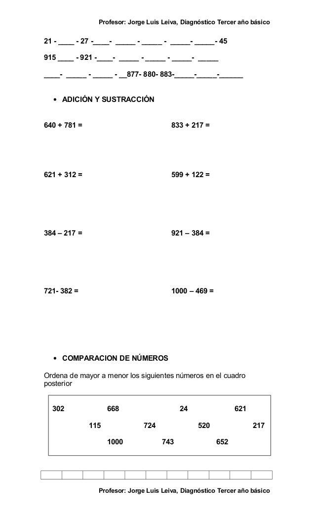 Prueba de diagnostico de educacion matematica tercero basico Slide 2