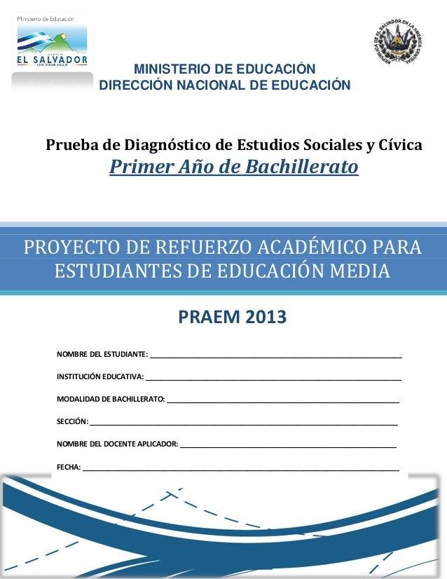 MINISTERIO DE EDUCACIÓN            DIRECCIÓN NACIONAL DE EDUCACIÓN Prueba de Diagnóstico de Estudios Sociales y Cívica    ...