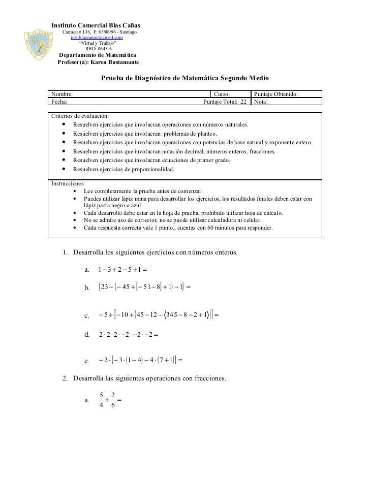 Prueba de diagnóstico de matemática segundo medio