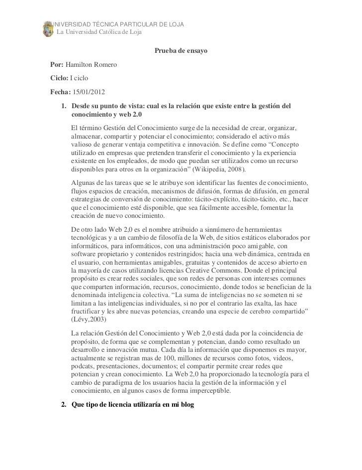UNIVERSIDAD TÉCNICA PARTICULAR DE LOJA  La Universidad Católica de Loja                                     Prueba de ensa...