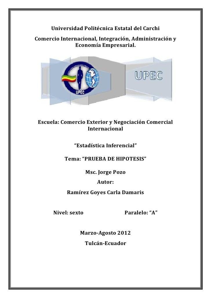 Universidad Politécnica Estatal del CarchiComercio Internacional, Integración, Administración y              Economía Empr...