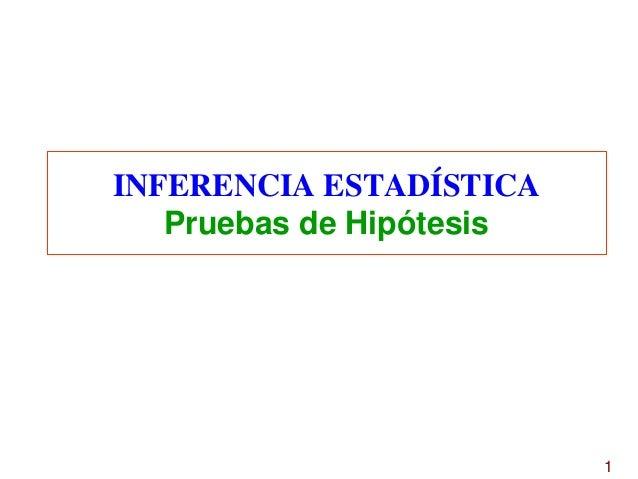INFERENCIA ESTADÍSTICA Pruebas de Hipótesis  1