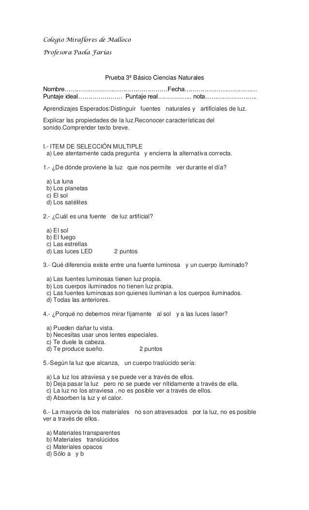 Colegio Miraflores de MallocoProfesora Paola Farías                       Prueba 3º Básico Ciencias NaturalesNombre…………………...