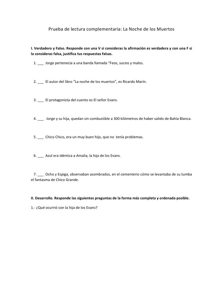 Pruebadelecturacomplementaria:LaNochedelosMuertosI.VerdaderoyFalso.RespondeconunaVsiconsideraslaafirm...