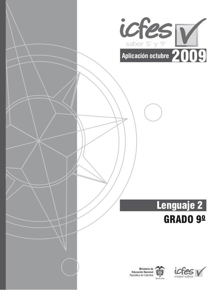 Aplicación octubre                     2009             Lenguaje 2              GRADO 9º