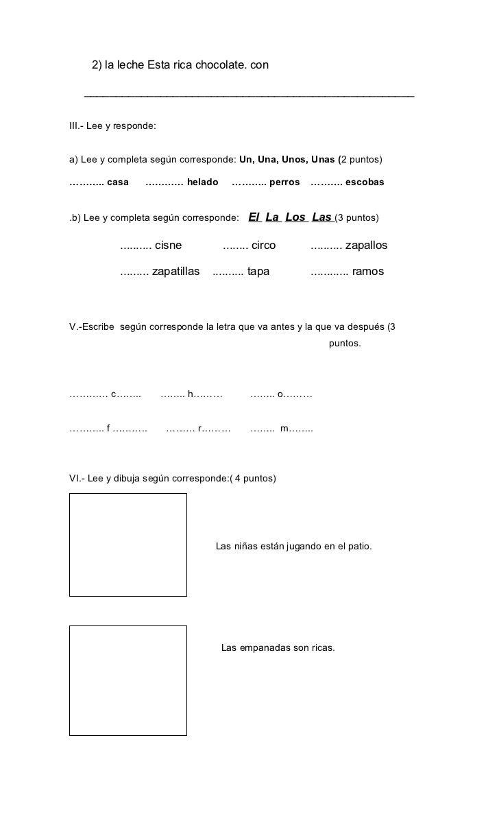 Prueba de lenguaje 1º básico Slide 2