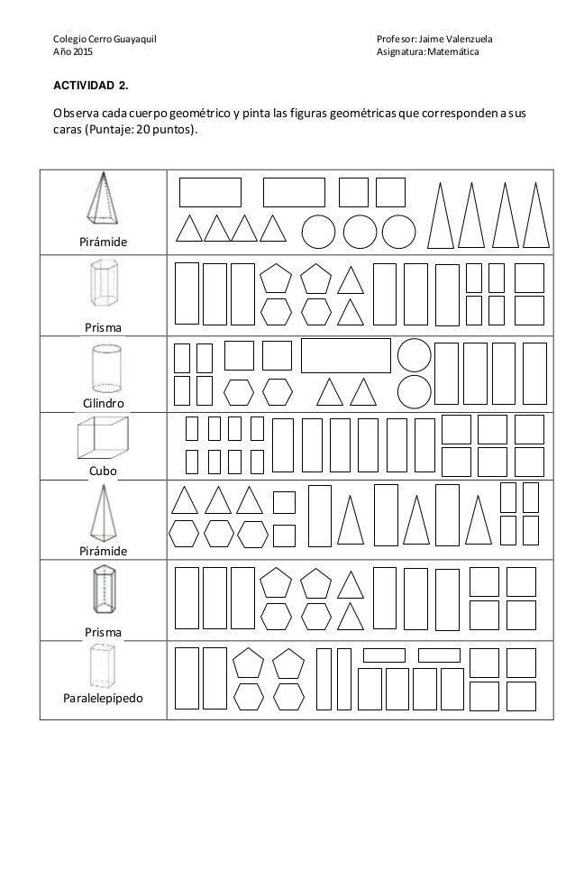 Prueba De Matemática Cuerpos Geometricos Y Perimetros
