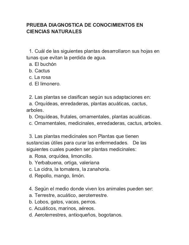 PRUEBA DIAGNOSTICA DE CONOCIMIENTOS ENCIENCIAS NATURALES  1. Cuál de las siguientes plantas desarrollaron sus hojas entuna...