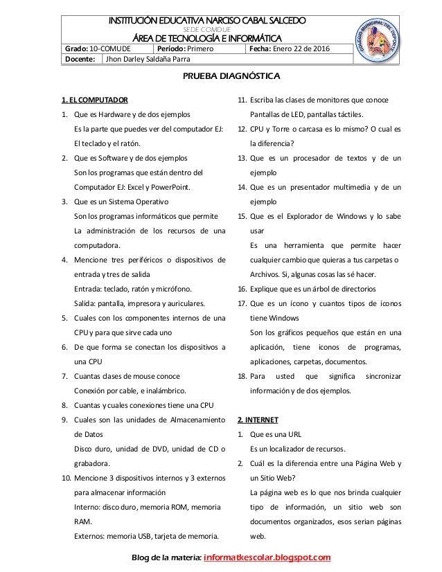 INSTITUCIÓN EDUCATIVA NARCISO CABAL SALCEDO SEDE COMDUE ÁREA DE TECNOLOGÍA E INFORMÁTICA Grado: 10-COMUDE Período: Primero...