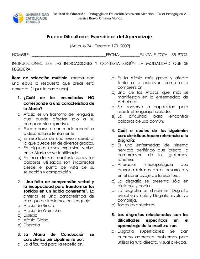 Facultad de Educación – Pedagogía en Educación Básica con Mención – Taller Pedagógico V – Jessica Bravo. Omayra Muñoz Prue...
