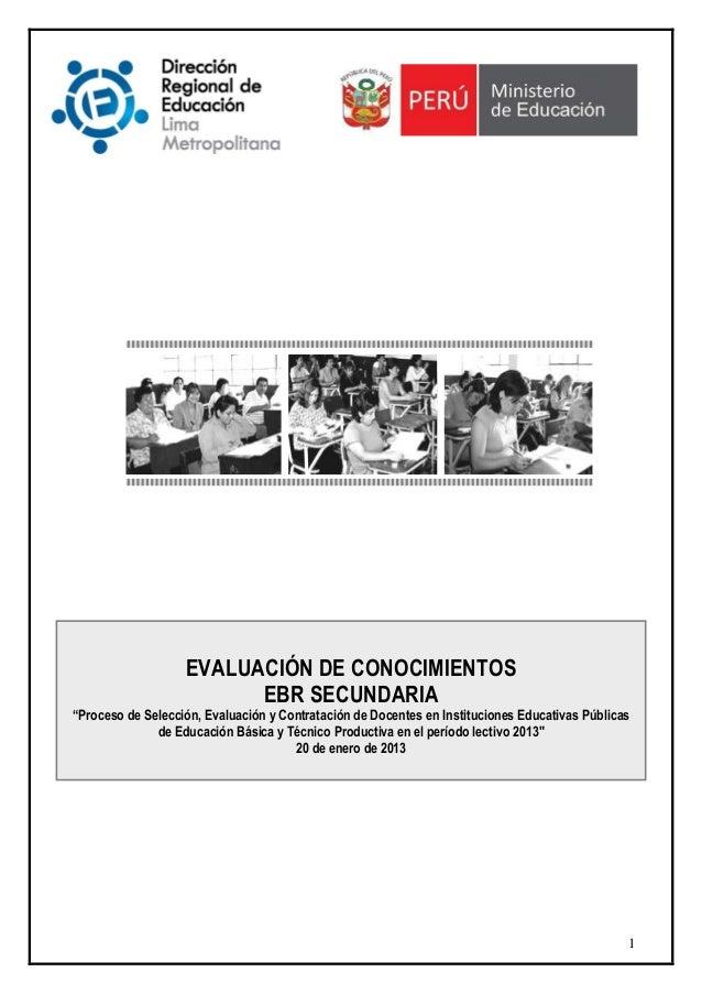 """EVALUACIÓN DE CONOCIMIENTOS                         EBR SECUNDARIA""""Proceso de Selección, Evaluación y Contratación de Doce..."""