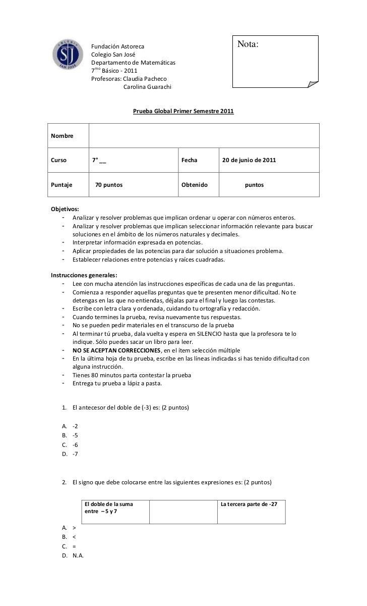 Nota:0-104775Fundación Astoreca<br />Colegio San José<br />Departamento de Matemáticas<br />7mo Básico - 2011<br />       ...