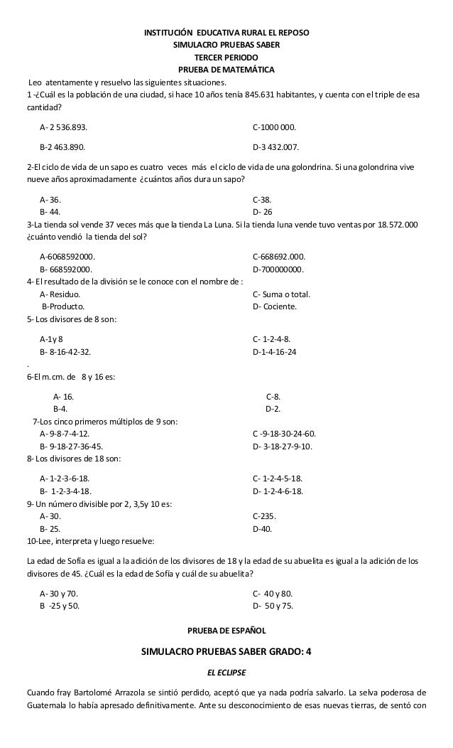INSTITUCIÓN EDUCATIVA RURAL EL REPOSO                                          SIMULACRO PRUEBAS SABER                    ...