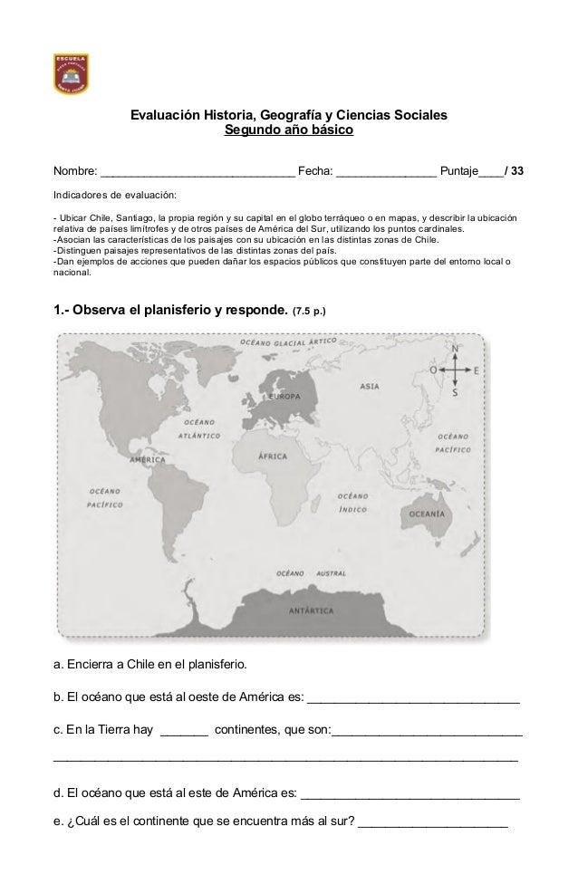Evaluación Historia, Geografía y Ciencias Sociales Segundo año básico Nombre: _______________________________ Fecha: _____...