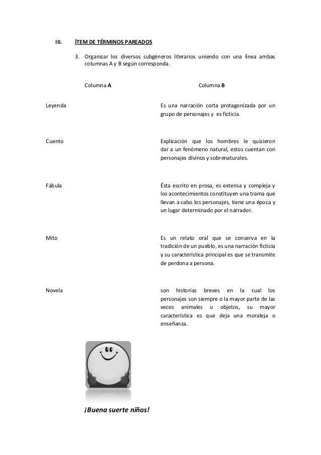 III.   ÍTEM DE TÉRMINOS PAREADOS          3. Organizar los diversos subgéneros literarios uniendo con una línea ambas     ...
