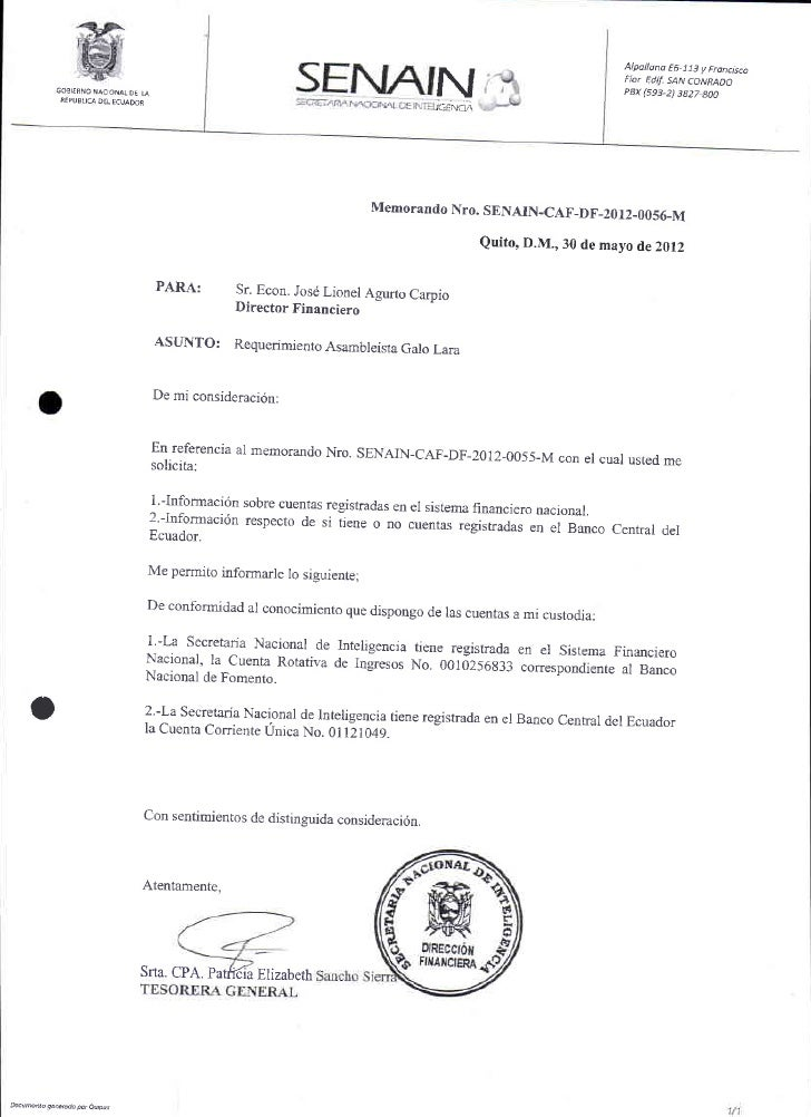PRESIDENCIA DE LA REPUBLICAOficio No. T.6445-SNJ- l2-651Quito, 29 de mayo de 2012SeflorGalo Lara YdnezASAMBLEiSTAAsamblea ...