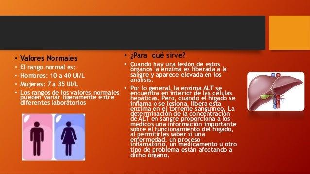 • Valores Normales • El rango normal es: • Hombres: 10 a 40 UI/L • Mujeres: 7 a 35 UI/L • Los rangos de los valores normal...