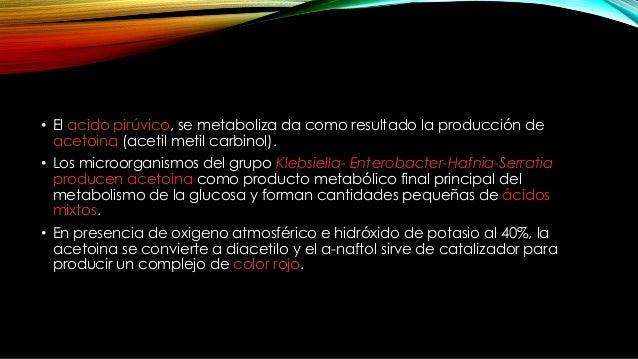 RESULTADOS Positivo: desarrollo de color rojo 15 minutos o mas después del agregado de los reactivos, que indica la presen...