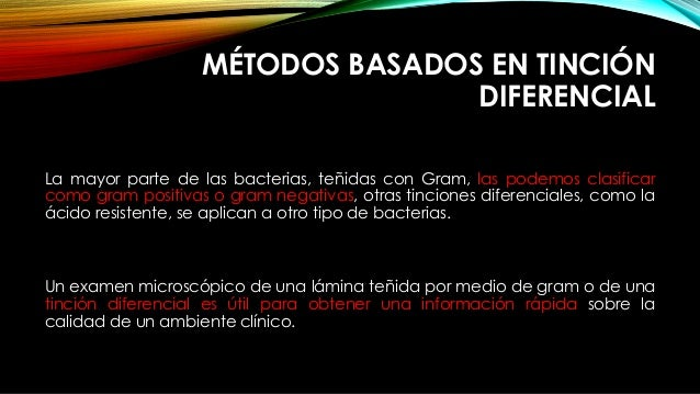 MÉTODOS BASADOS EN TINCIÓN DIFERENCIAL La mayor parte de las bacterias, teñidas con Gram, las podemos clasificar como gram...