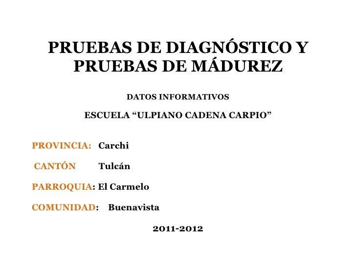 """PRUEBAS DE DIAGNÓSTICO Y PRUEBAS DE MÁDUREZ<br />DATOS INFORMATIVOS<br />ESCUELA """"ULPIANO CADENA CARPIO""""<br />PROVINCIA:  ..."""