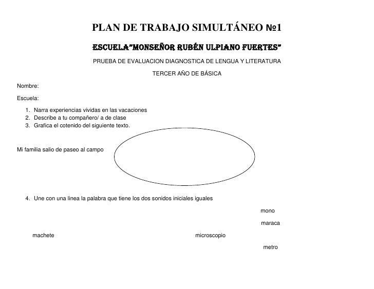 """PLAN DE TRABAJO SIMULTÁNEO №1                             ESCUELA""""MONSEÑOR RUBÉN ULPIANO FUERTES""""                         ..."""