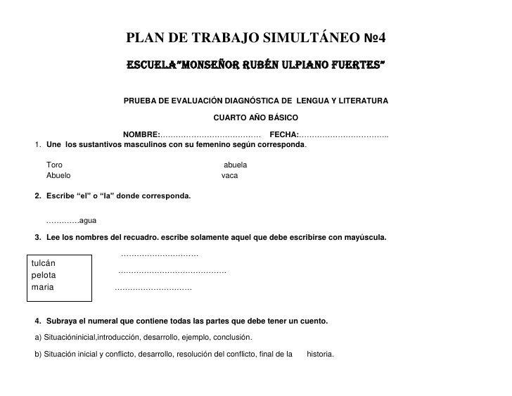"""PLAN DE TRABAJO SIMULTÁNEO №4                             ESCUELA""""MONSEÑOR RUBÉN ULPIANO FUERTES""""                         ..."""