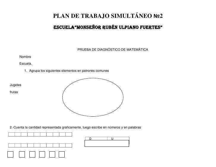 """PLAN DE TRABAJO SIMULTÁNEO №2                              ESCUELA""""MONSEÑOR RUBÉN ULPIANO FUERTES""""                        ..."""