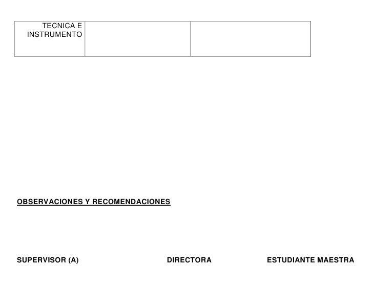 TECNICA E  INSTRUMENTOOBSERVACIONES Y RECOMENDACIONESSUPERVISOR (A)                DIRECTORA   ESTUDIANTE MAESTRA