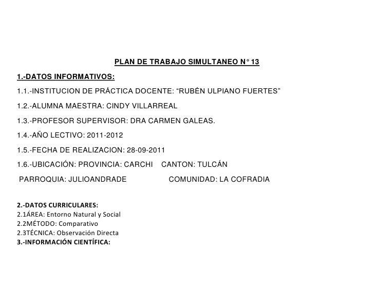 """PLAN DE TRABAJO SIMULTANEO N° 131.-DATOS INFORMATIVOS:1.1.-INSTITUCION DE PRÁCTICA DOCENTE: """"RUBÉN ULPIANO FUERTES""""1.2.-AL..."""