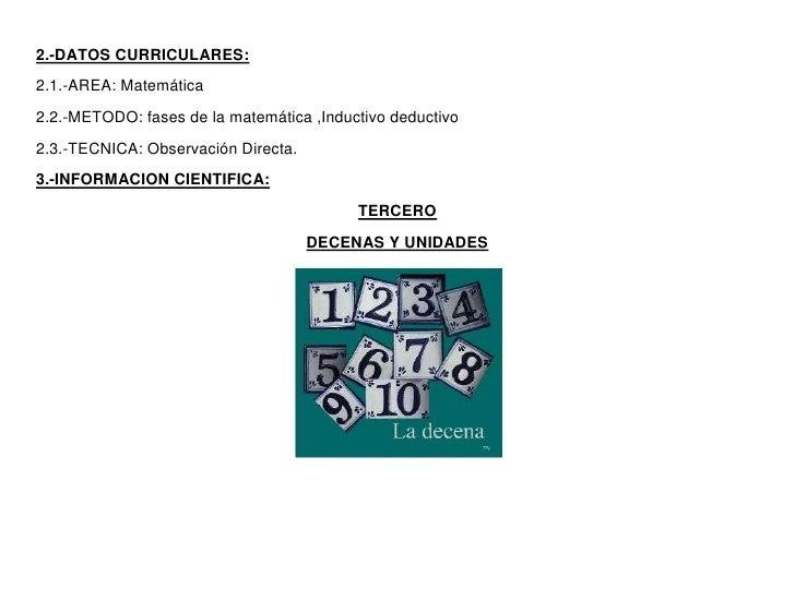2.-DATOS CURRICULARES:2.1.-AREA: Matemática2.2.-METODO: fases de la matemática ,Inductivo deductivo2.3.-TECNICA: Observaci...