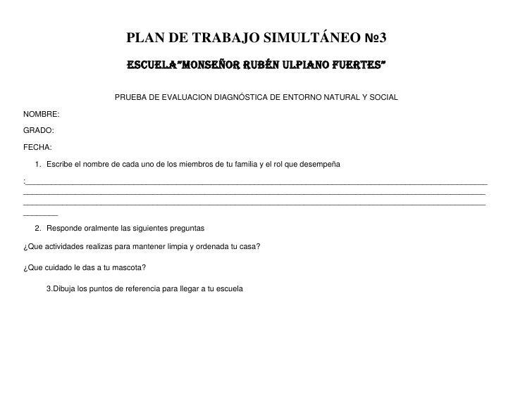 """PLAN DE TRABAJO SIMULTÁNEO №3                             ESCUELA""""MONSEÑOR RUBÉN ULPIANO FUERTES""""                         ..."""