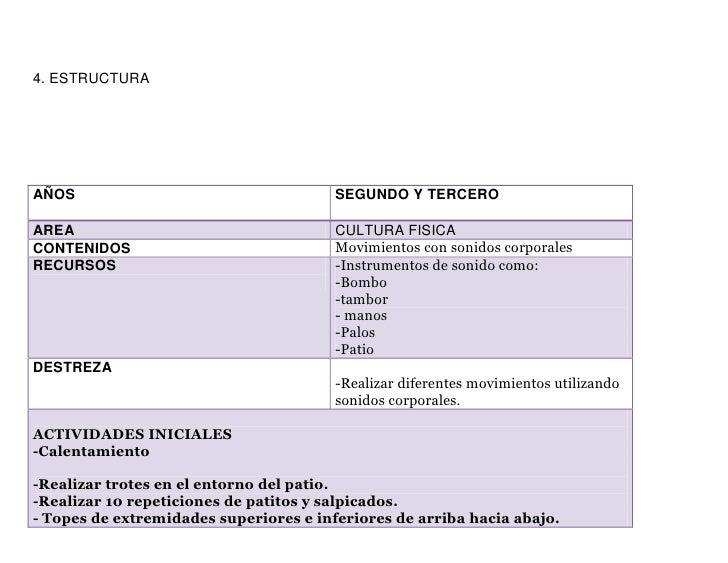 4. ESTRUCTURAAÑOS                                    SEGUNDO Y TERCEROAREA                                    CULTURA FISI...