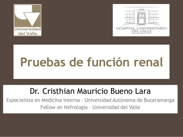 Pruebas de función renal Dr. Cristhian Mauricio Bueno Lara Especialista en Medicina Interna – Universidad Autónoma de Buca...