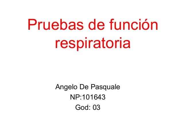 Pruebas de función respiratoria Angelo De Pasquale NP:101643 God: 03