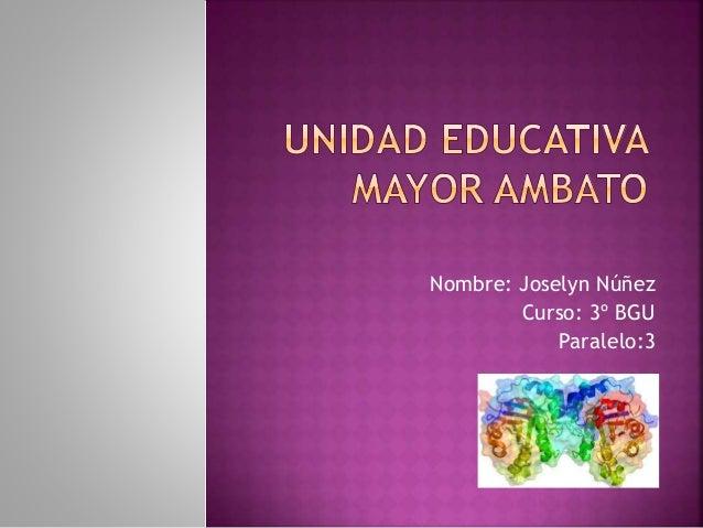 Nombre: Joselyn Núñez Curso: 3º BGU Paralelo:3