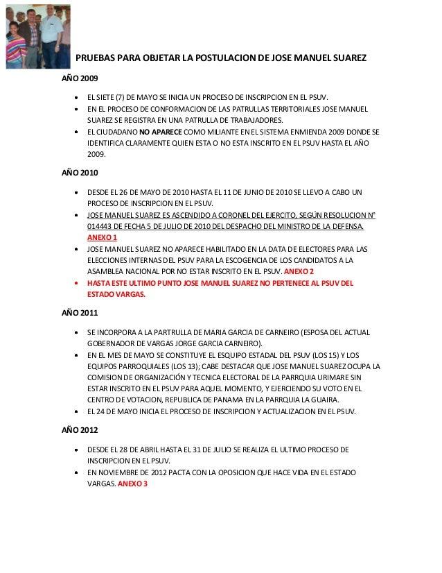 PRUEBAS PARA OBJETAR LA POSTULACION DE JOSE MANUEL SUAREZAÑO 2009     EL SIETE (7) DE MAYO SE INICIA UN PROCESO DE INSCRIP...