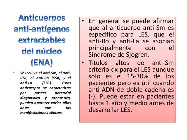 El anti-RNP en el 25 -47% de los pacientes con LES y títulos > se asocia con Enf. Mixta de T. Conectivo. Asociado con el a...