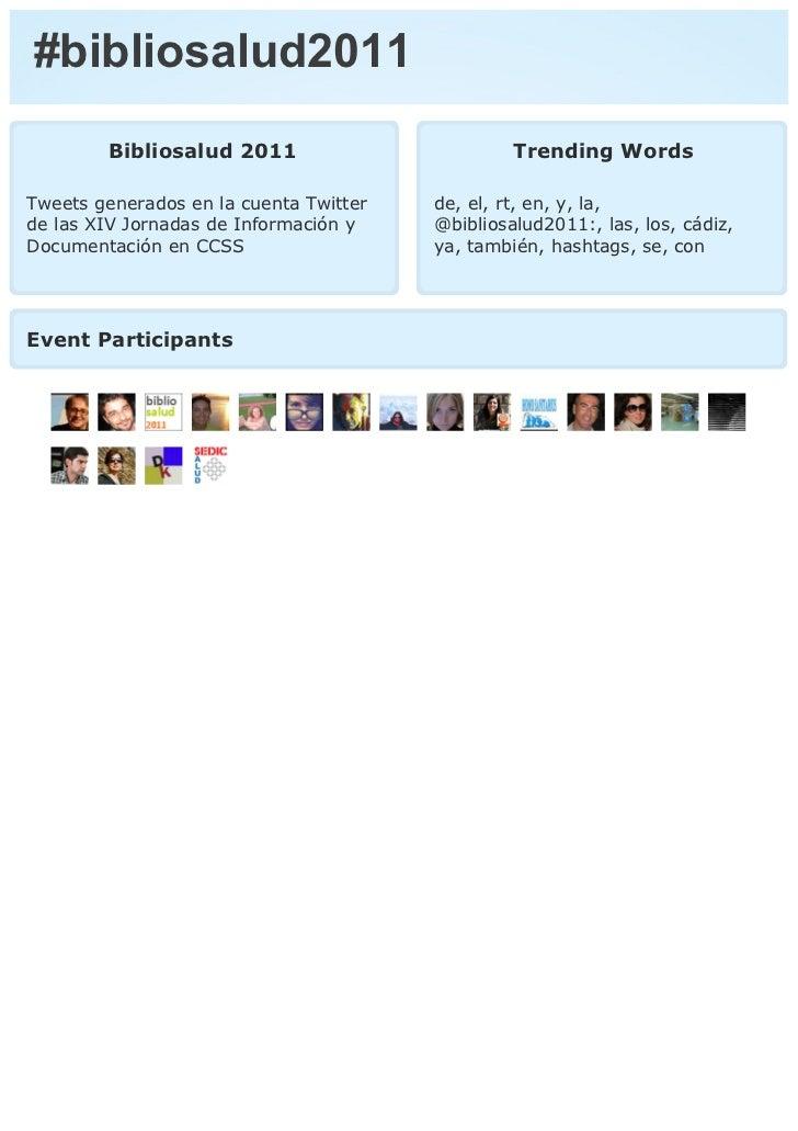 #bibliosalud2011        Bibliosalud 2011                         Trending WordsTweets generados en la cuenta Twitter   de,...