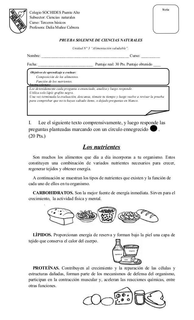 Objetivos de aprendizaje a evaluar: Composición de los alimentos. Función de los nutrientes. Instrucciones: Lee detenidame...