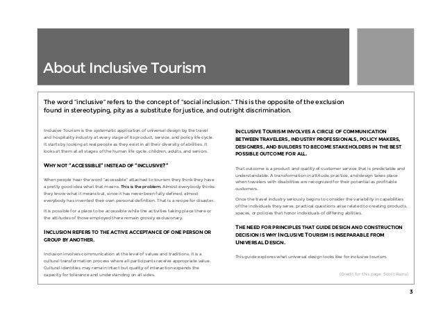 Universal Design Guide for Inclusive Tourism by Scott and Sarah Pruett Slide 3
