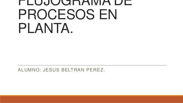 FLUJOGRAMA DE PROCESOS EN PLANTA. ALUMNO: JESUS BELTRAN PEREZ.