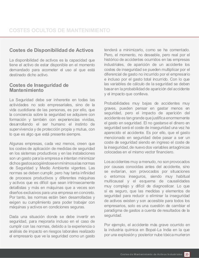 23 Mantenimiento La Seguridad debe ser inherente en todas las actividades no solo empresariales, sino de la vida cuotidian...