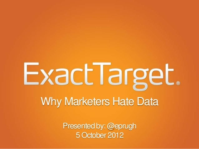Why Marketers Hate Data    Presented by: @eprugh        5 October 2012