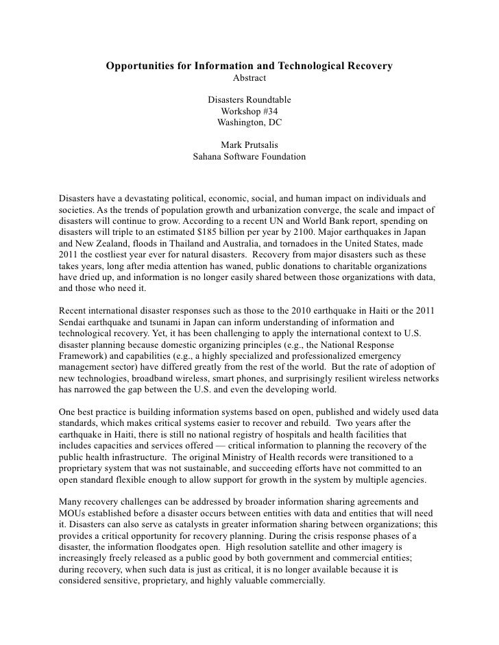 Opportunities for Information and Technological Recovery                                             Abstract             ...