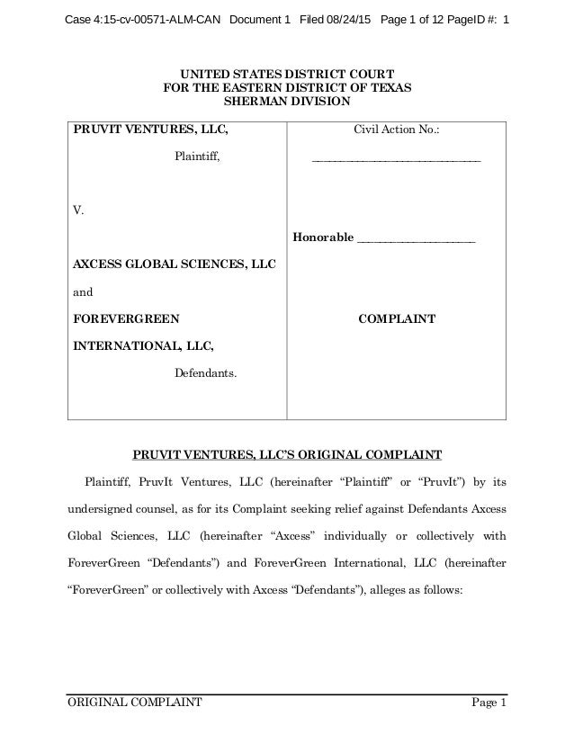 ORIGINAL COMPLAINT Page 1 UNITED STATES DISTRICT COURT FOR THE EASTERN DISTRICT OF TEXAS SHERMAN DIVISION PRUVIT VENTURES,...