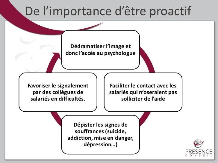 De l'importance d'être proactif                 Dédramatiser l'image et               donc l'accès au psychologueFavoriser...