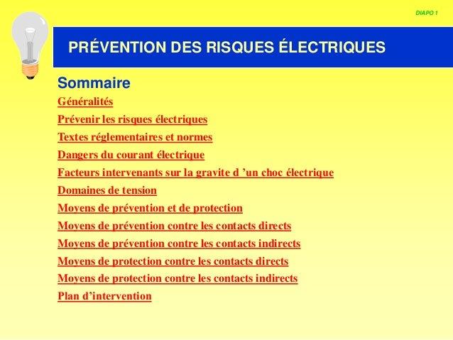 HABILITATION ELECTRIQUE DIAPO 1 PRÉVENTION DES RISQUES ÉLECTRIQUES Sommaire Généralités Prévenir les risques électriques T...